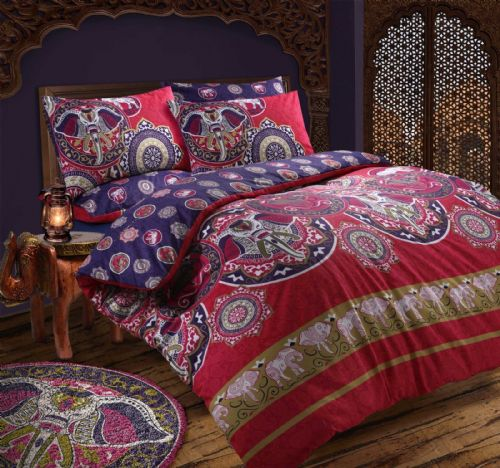 FUSHIA PINK ELEPHANT INDAIN KASHMIR DESIGN REVERSIBLE BEDDING DUVET COVER SET